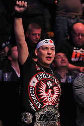 Montreal, Quebec, CAN - November 17, 2012: A fan cheers before the bout between UFC Welterweight Champion Georges St. Pierre and Interim UFC Welterweight Champion Carlos Condit at UFC 154 at the Bell Centre in Montreal, Quebec, Canada. St. Pierre won via unanimous decision.