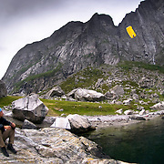 Landing below the gigantic walls of Kjerag.  Lysefjorden, Norway.