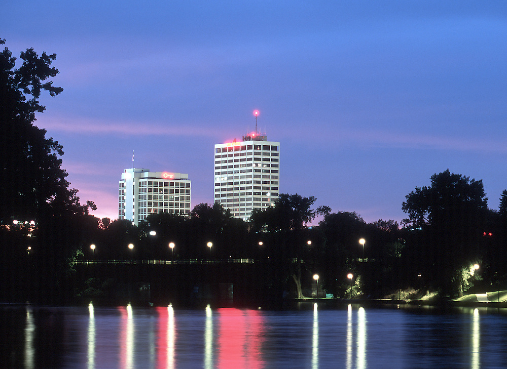 Downtown South Bend skyline seen from the St. Joseph River..Photo by Matt Cashore
