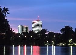 Downtown South Bend skyline seen from the St. Joseph River..Photo by Matt Cashore