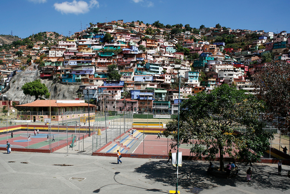 The Antimano barrio is one of the poorest barrios in Caracas and is overwhelmingly supportive of the Chavez government. Colorful houses such as these, stacked one on top of the other are characteristic of Antimano and much of Caracas. However they pose a danger to their residents who are faced with the threat of mudslides during heavy rains and earthquakes.
