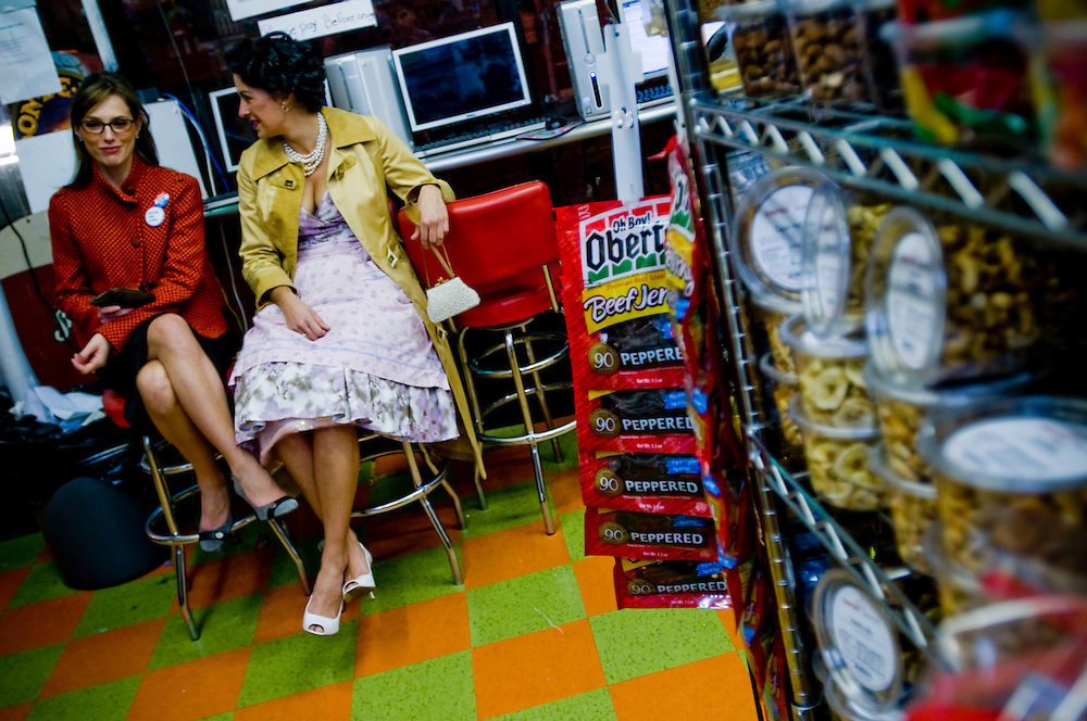 Halloween in New York - Rena Rutkauskas and Andrea Gelinas at a deli in Williamsburg, Brooklyn..Photographer: Chris Maluszynski /MOMENT