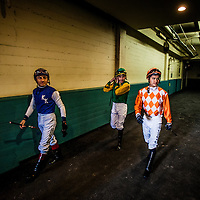 Jockeys walk to the paddock on December 21, 2013 at Betfair Hollywood Park in Inglewood, California . The Track is set to close on December 22, 2013 after operating for 75 Years.(Alex Evers/ Eclipse Sportswire)