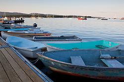Skiffs on a dock in Mansett, Maine. Mount Desert Island.