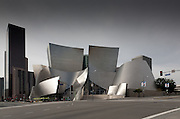Elevation view of Walt Disney Concert Hall from the northeast across Grand Avenue; the Bank of America Center is to the left in the rear