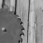 Rusted Circular  Saw Blade - Bodie, CA - Lensbaby - Black & White