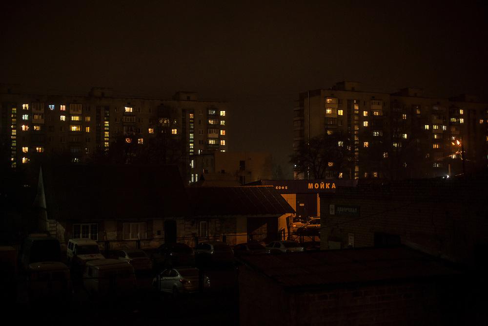 A nighttime view on Monday, February 15, 2016 in Krasnoarmiisk, Ukraine.