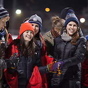 Students celebrate midnight mass at Mulligan Field before the basketball game against BYU. (Photo by Ryan Sullivan)