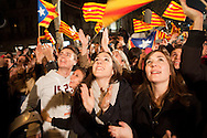 Elections night celebration of CIU Party in the Majestic Hotel. People and the party calls for Independence of Catalonia from Spain. 25th of November 2012