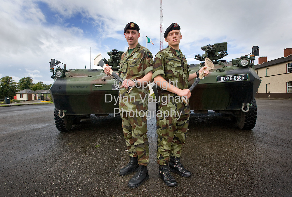 2/9/2008.Pictured yesterday at Stephens Barracks in Kilkenny were members of the defence forces and All Ireland Final hurlers from left  Private Eoin Larkin (Kilkenny) and Lieutenant Stephen Molumphy..Picture Dylan Vaughan.