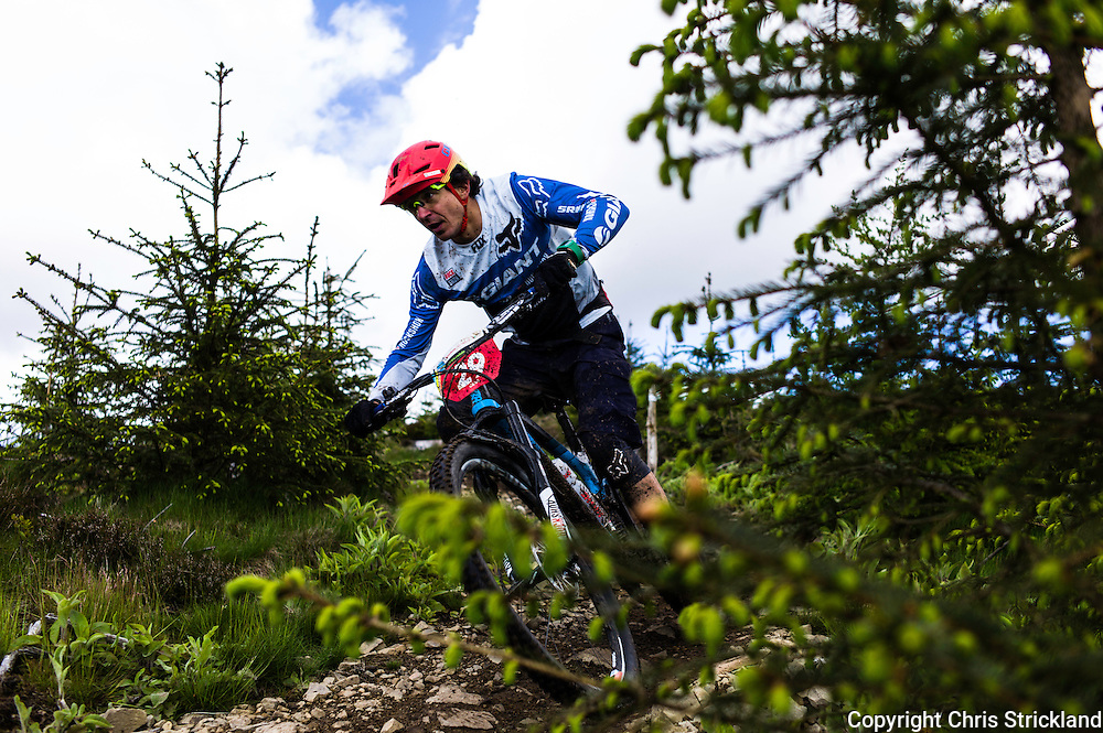 Glentress, Peebles, Scotland, UK. 31st May 2015. Adam Craig in action at The Enduro World Series Round 3 taking place on the iconic 7Stanes trails during Tweedlove Festival. Mountain bikers come up against eight stages across two days, with an intense 2,695 metres of climbing over 93km. As well as the physicality of the liaisons, the stages themselves are technical, catching many off guard.