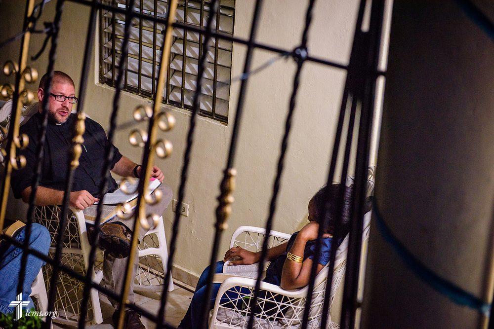 The Rev. Joel Fritsche, LCMS career missionary to the Dominican Republic, leads a Bible study at a home on Saturday, March 18, 2017, in Santo Domingo. LCMS Communications/Erik M. Lunsford