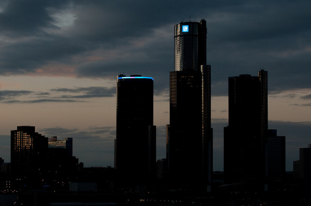 Detroit Skyline with GM buildings.