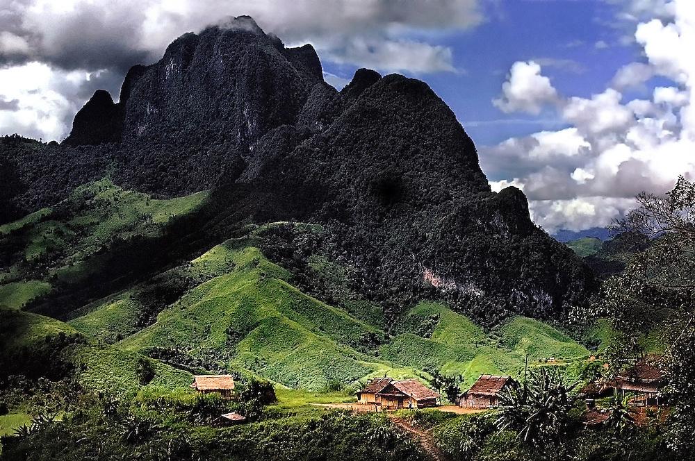 A mountain landscape south of Luang Prabang, Laos.