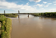 Fairview Lift Bridge, east of Fairview Montana, just over border in North Dakota, built 1913/1914, stretches 1,320 ft over Yellowstone River
