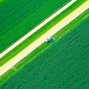 Aerial view of Farmland in  Pennsylvania, Amish Countryside