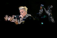 PERTH, AUSTRALIA - JUNE 25:  Pink performs live for fans at Perth Arena on June 25, 2013 in Perth, Australia.  (Photo by Paul Kane/Getty Images)