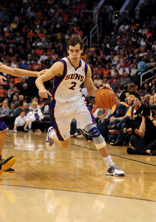 Oct. 29 2010; Phoenix, AZ, USA; Phoenix Suns guard Goran Dragic (2) dribbles the ball against the Los Angeles Lakers during the second quarter at the US Airways Center. Mandatory Credit: Jennifer Stewart-US PRESSWIRE.