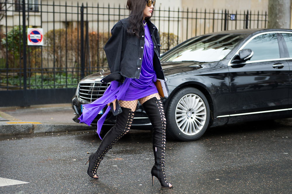 Purple Dress and Lace-Up Boots, Outside Celine FW2017