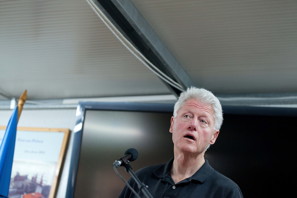 Bill Clinton holds a press conference to talk about the Clinton Foundation's response to Haiti's cholera epidemic.
