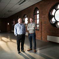 Bill Scouller (L) Ryan McCabe (R) . Bill Scouller founder of internet startup company Odro , pictured in the Glasgow office. Photo by (Ross Gilmore)