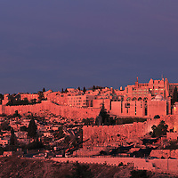 The Old City of Jerusalem's Jewish Quarter at Sunrise, viewed from the East from the Mount of Olives.