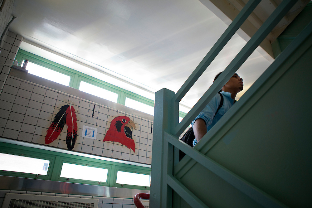 Peer leader Brander Suero, 16, heads to class at Central Park East High School in New York, NY on November 15, 2012. Beyond sheer physical safety, a look at how schools and districts can create classroom conditions in which students are able to engage enthusiastically and without emotional fear of stepping forward. Photographer: Melanie Burford/Prime