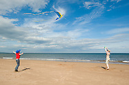 Boy flying a macaw kite on the beach