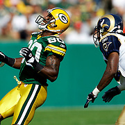 &amp;#xA;Green Bay's Donald Driver reacts to a dropped Brett Favre pass on a 1st and 1-yards in the 1st quarter. Driver was covered by St. Louis's Travis Fisher. &amp;#xA;The Green Bay Packers hosted the St. Louis Rams at Lambeau Field Sunday October 8, 2006. Steve Apps-State Journal.<br />