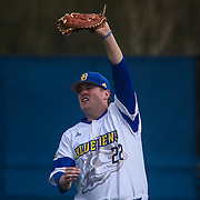 Delaware Infielder Nick Liggett (22) catches a fly ball near first base during a regular season baseball game between Delaware and Saint Joseph's at Bob Hannah Stadium Tuesday April 19, 2016, in Newark.