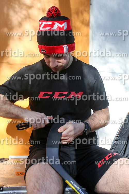 Nik Simsic of Slovenia before friendly ice hockey match between Slovenia and Croatia, on April 12, 2016 in Ledena dvorana, Bled, Slovenia. Photo By Matic Klansek Velej / Sportida