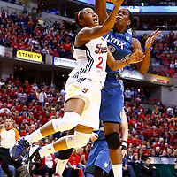 INDIANAPOLIS, IN - OCTOBER 21: Briann January #20 of the Indiana Fever shoots against Taj McWilliams-Franklin #8 of the Minnesota Lynx during Game Four of the 2012 WNBA Finals on October 21, 2012 at Bankers Life Fieldhouse in Indianapolis, Indiana. NOTE TO USER: User expressly acknowledges and agrees that, by downloading and or using this Photograph, user is consenting to the terms and conditions of the Getty Images License Agreement. (Photo by Michael Hickey/Getty Images) *** Local Caption *** Briann January; Taj McWilliams-Franklin
