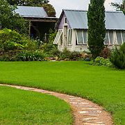 Path, garden shed, Antique Rose Emporium, Independence, Texas, Summer