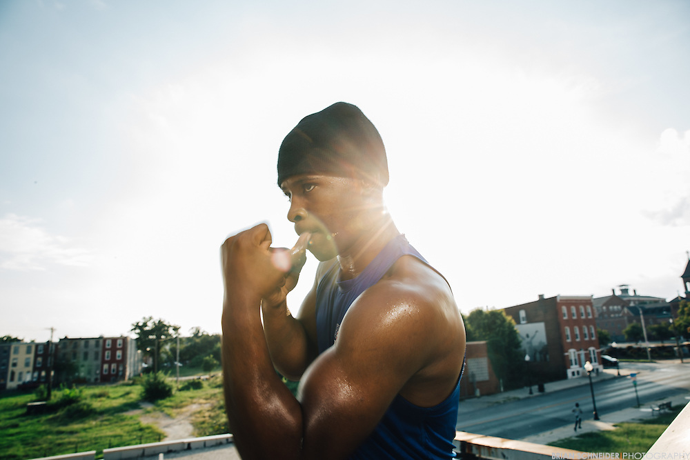 Aug 31, 2016; Baltimore, MD, USA; Upton Boxing Center team member Lorenzo &quot;Truck&quot; Simpson poses for a portrait on the roof overlooking West Baltimore.<br /> <br /> Credit:<br /> @ebrianschneider - Instagram<br /> @brian_schneider - twitter<br /> @ebrianschneider - Facebook