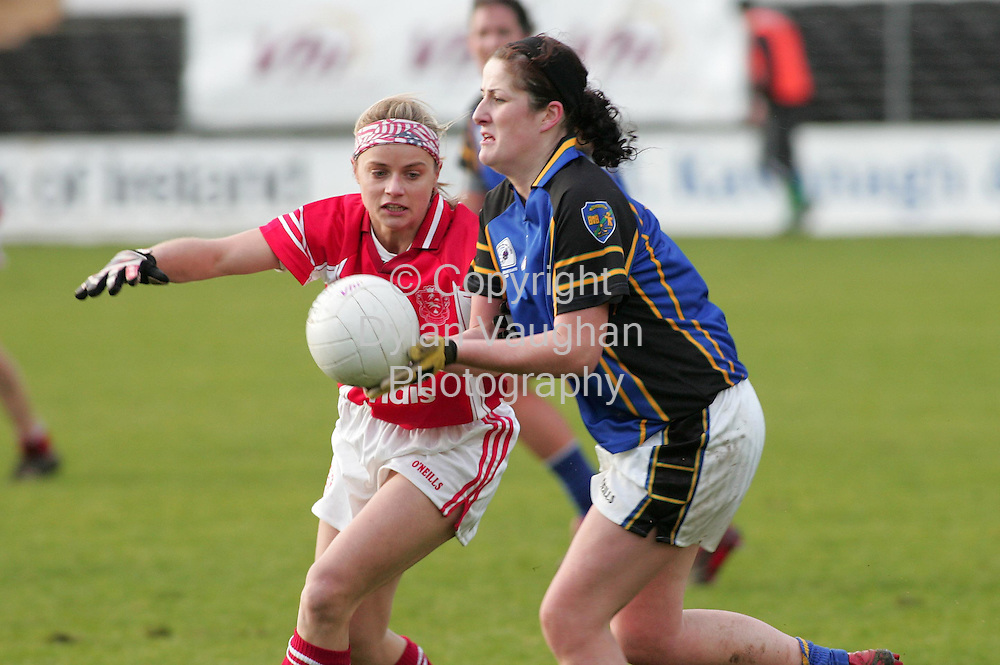 3/12/2006.Pictured in Action at the VHI Healthcare All Ireland Ladies Intermediate Club Championship Final in Nowlan Park in KIlkenny yesterday was Inch Rovers Amy O' Shea (left) and Naomh Mearnóg's Emma Dunne (right)..Picture Dylan Vaughan.