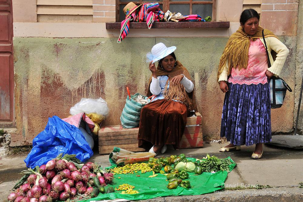 Market sellers in Tacacoma, Bolivia