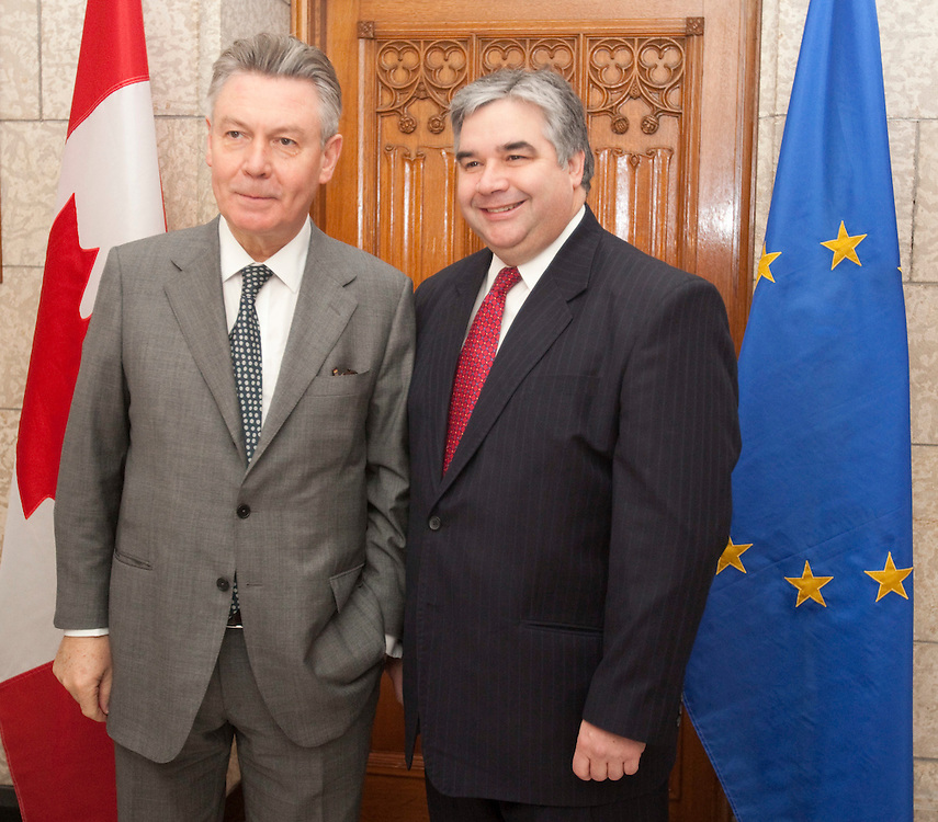Karel De Gucht, European Commissioner for Trade meets with Canada's Minister of International Trade Peter Van Loan on Parliament Hill in Ottawa, Canada December 15, 2010.<br /> AFP/GEOFF ROBINS/STR