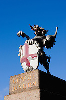 dragon stands at the entrance to the city of london, england