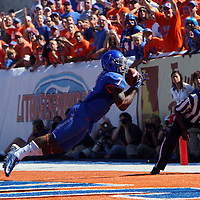 D.J. Harper #7 of the Boise State Broncos makes a first-half touchdown reception against Miami (Ohio) at Bronco Stadium in Boise, ID on Saturday Sept. 15 2012