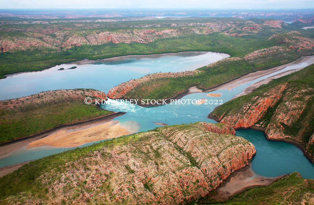 Aerial view of the Horizontal Waterfalls in Talbot Bay on a rising tide.