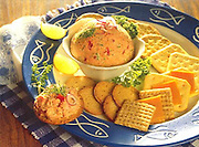 Alaska. Smoked salmon dip with cheese and crackers.