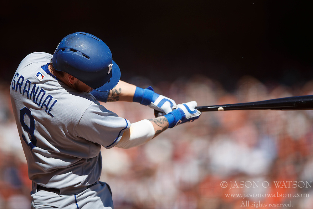SAN FRANCISCO, CA - OCTOBER 02: Yasmani Grandal #9 of the Los Angeles Dodgers at bat against the San Francisco Giants during the fourth inning at AT&T Park on October 2, 2016 in San Francisco, California. The San Francisco Giants defeated the Los Angeles Dodgers 7-1. (Photo by Jason O. Watson/Getty Images) *** Local Caption *** Yasmani Grandal