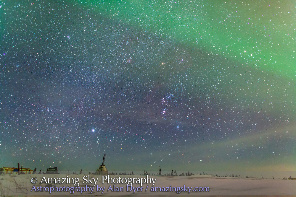 Orion, with Sirius and Aldebaran, above the abandoned launch sites of the Churchill Rocket Range near the Churchill Northern Studies Centre, Churchill, Manitoba. An aurora is visible at top. Taken Feb 3-4, 2014.  30 second exposure at f/2.2 with the 24mm lens and Canon 5D MkII at ISO 3200.