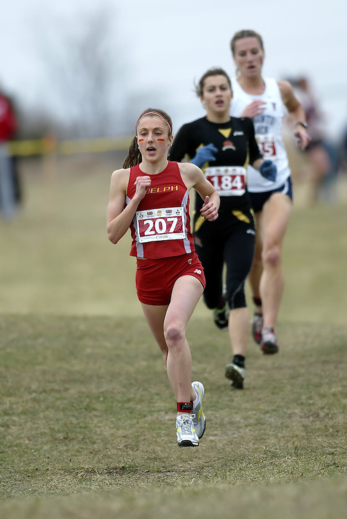 (Kingston, Ontario -- 14 Nov 2009)  LINDSAY CARSON of the University of Guelph runs to 2 place at the  2009 Canadian Interuniversity Sport CIS Cross Country Championships at Forth Henry Hill in Kingston Ontario. Photograph copyright Sean Burges / Mundo Sport Images, 2009.