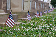 Graves decorated in the Congressional Cemetery for Memorial Day.