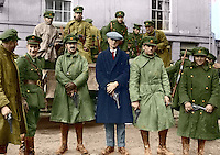 Irish National Army soldiers taking over at the Curragh camp after the British withdrawal, 1922. General J.J. &lsquo;Ginger&rsquo; O&rsquo;Connell, Deputy Chief of Staff is third from the left. This image has been digitally edited to add colour to its original black and white format. <br /> (Part of the Independent Newspapers Ireland/NLI Collection)
