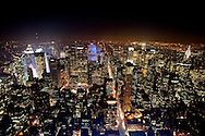 New York city skyline as seen from the Empire State building at night