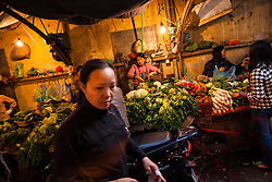 Local market in a street of Hanoi, Vietnam, Southeast Asia