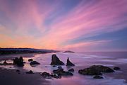 Sea stacks at dawn from Face Rock State Wayside, Bandon, southern  Oregon Coast.
