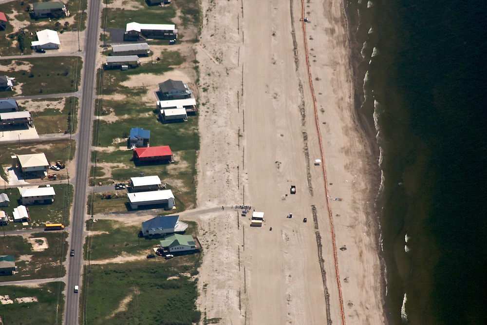 Artificial oil protection barrier at Grand Isle, Louisiana, USA